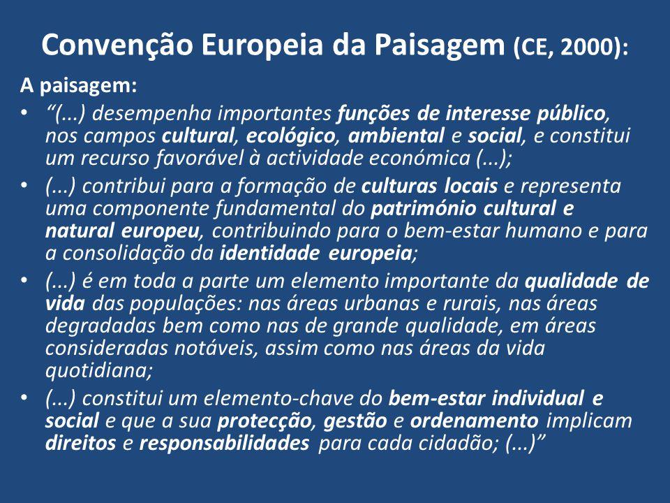 Convenção Europeia da Paisagem (CE, 2000): A paisagem: (...) desempenha importantes funções de interesse público, nos campos cultural, ecológico, ambi