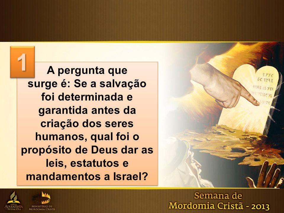 A pergunta que surge é: Se a salvação foi determinada e garantida antes da criação dos seres humanos, qual foi o propósito de Deus dar as leis, estatu