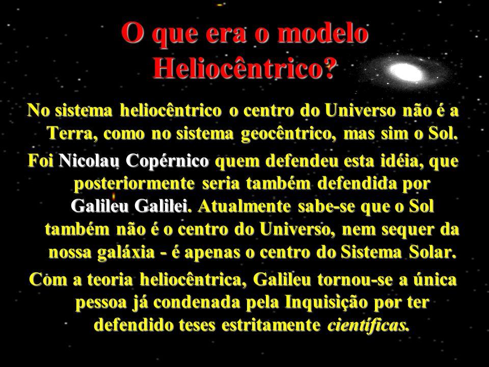 O que era o modelo Heliocêntrico? No sistema heliocêntrico o centro do Universo não é a Terra, como no sistema geocêntrico, mas sim o Sol. Foi Nicolau