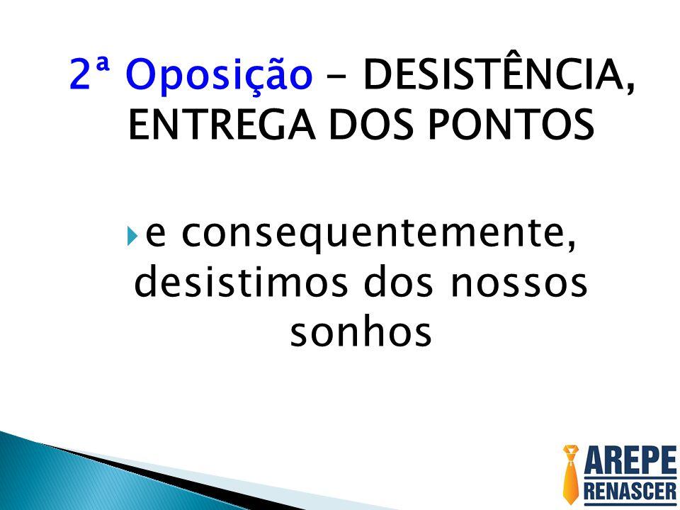 2ª Oposição - DESISTÊNCIA, ENTREGA DOS PONTOS e consequentemente, desistimos dos nossos sonhos