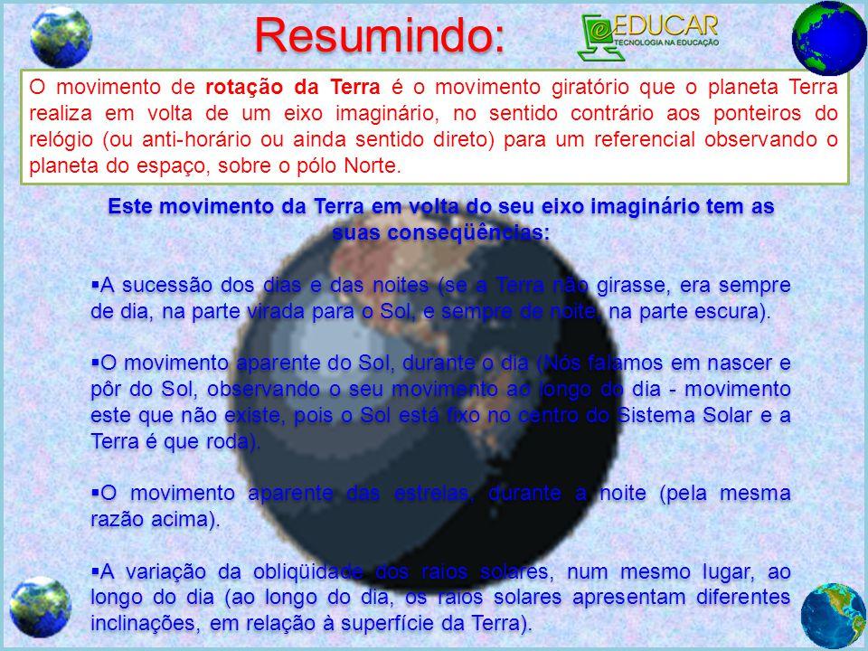 Resumindo: O movimento de rotação da Terra é o movimento giratório que o planeta Terra realiza em volta de um eixo imaginário, no sentido contrário ao
