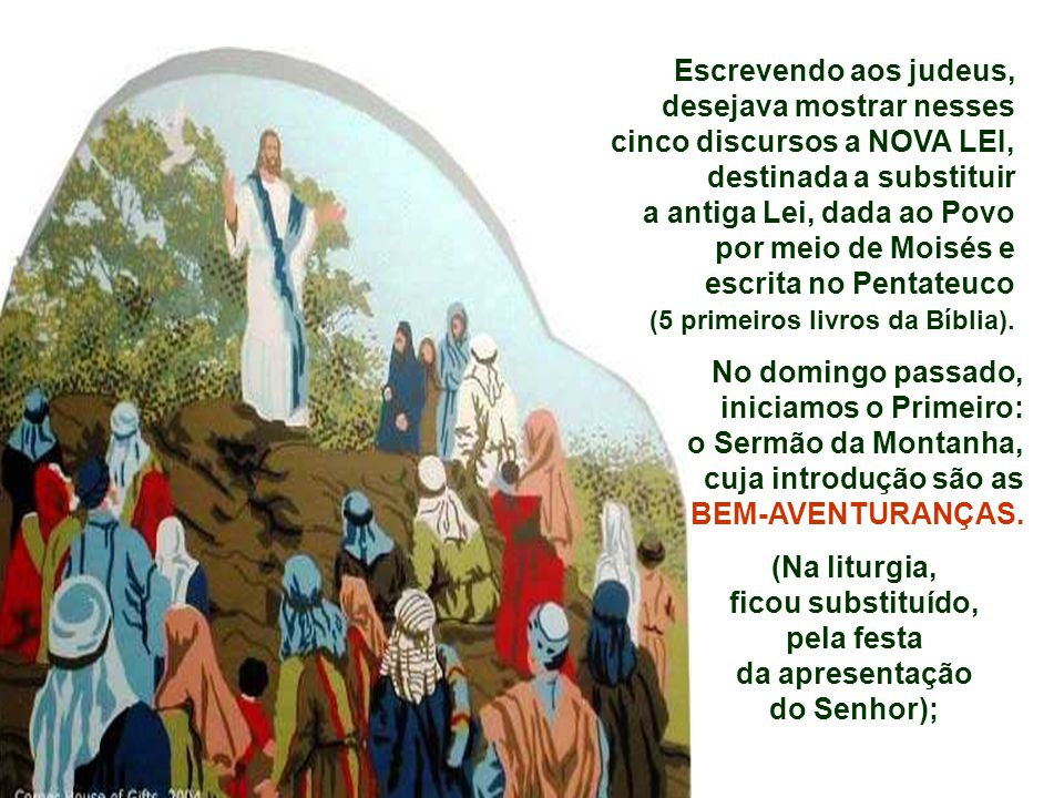 No ano litúrgico A, que estamos celebramos, o evangelho de Mateus será nosso companheiro. Mateus apresenta cinco longos discursos, nos quais ele junta