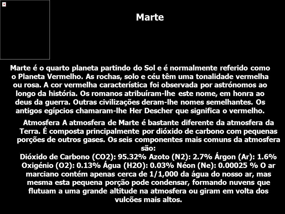 Atmosfera A atmosfera de Marte é bastante diferente da atmosfera da Terra. É composta principalmente por dióxido de carbono com pequenas porções de ou