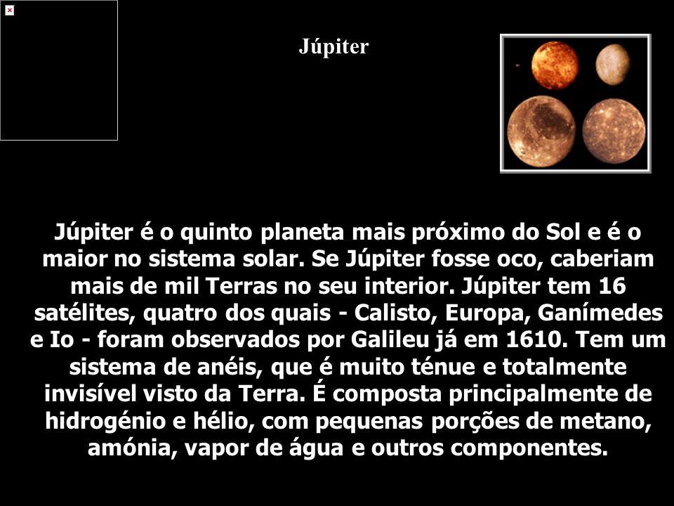 Júpiter é o quinto planeta mais próximo do Sol e é o maior no sistema solar. Se Júpiter fosse oco, caberiam mais de mil Terras no seu interior. Júpite