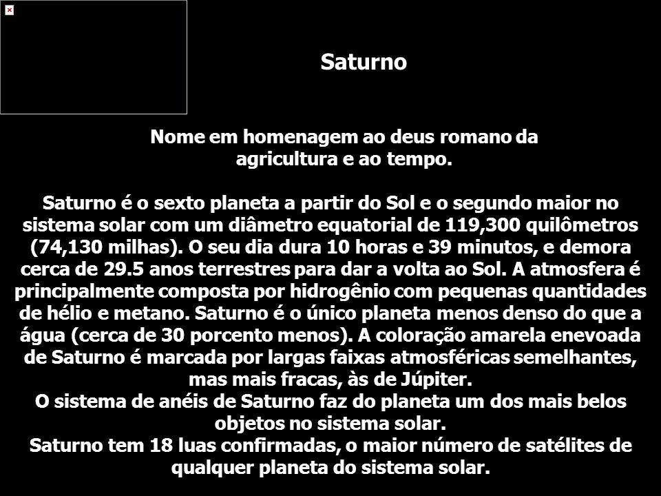 Saturno é o sexto planeta a partir do Sol e o segundo maior no sistema solar com um diâmetro equatorial de 119,300 quilômetros (74,130 milhas). O seu