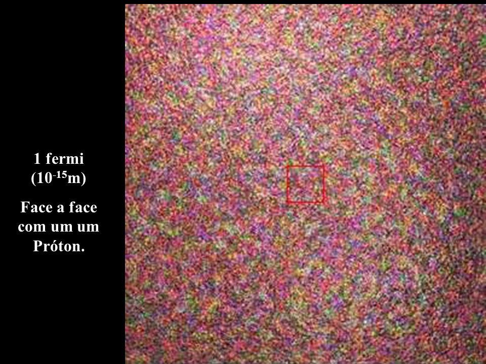 1 fermi (10 -15 m) Face a face com um um Próton.