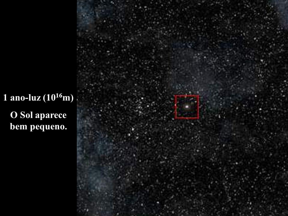 1 ano-luz (10 16 m) O Sol aparece bem pequeno.