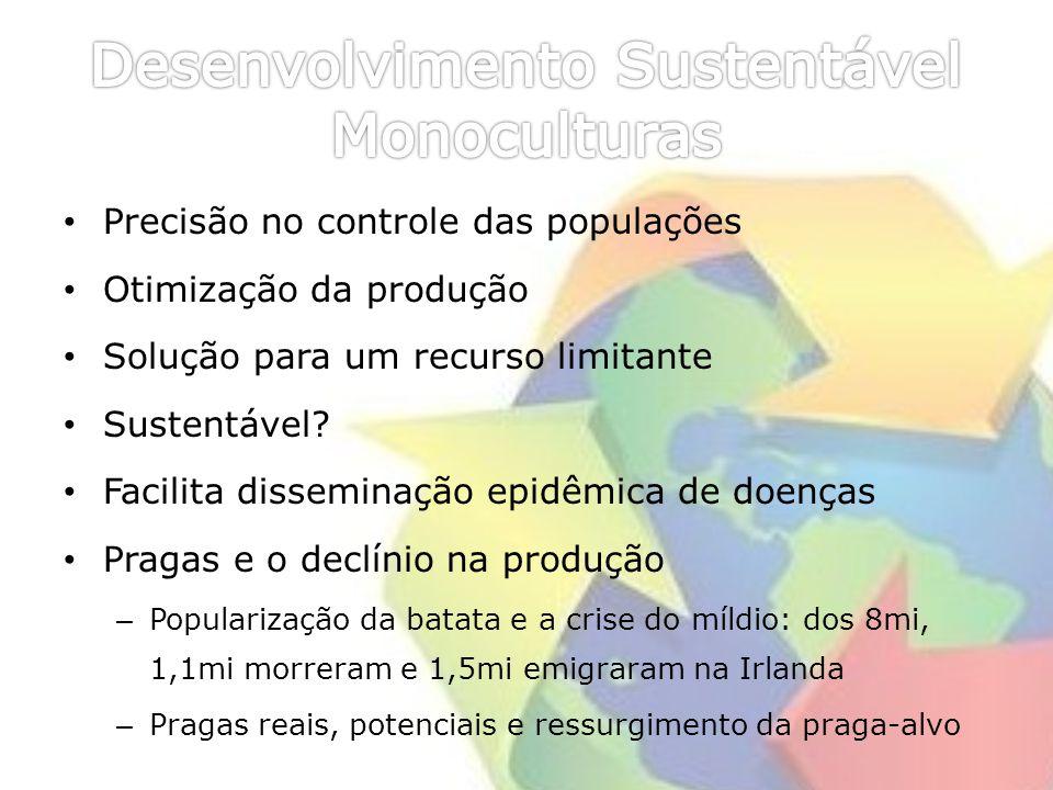 Precisão no controle das populações Otimização da produção Solução para um recurso limitante Sustentável? Facilita disseminação epidêmica de doenças P