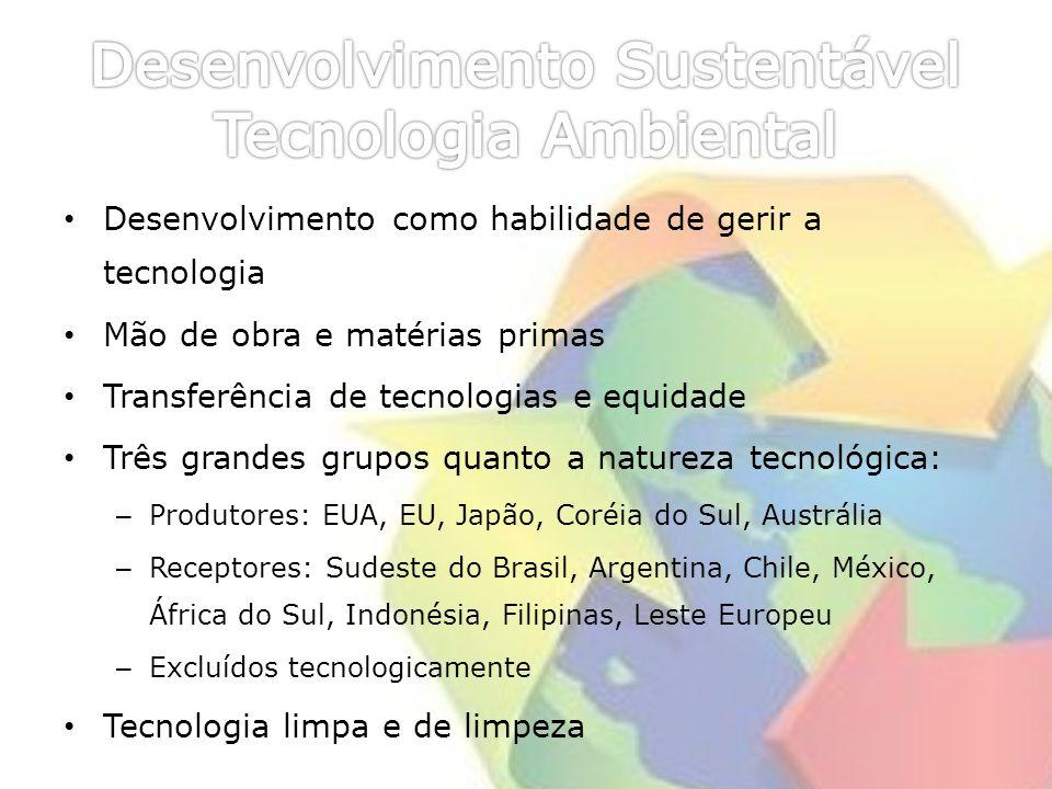 Desenvolvimento como habilidade de gerir a tecnologia Mão de obra e matérias primas Transferência de tecnologias e equidade Três grandes grupos quanto