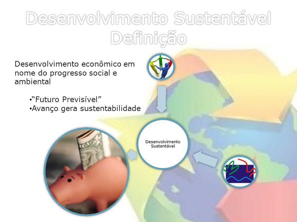Desenvolviment o Sustentável Desenvolvimento econômico em nome do progresso social e ambiental Futuro Previsível Avanço gera sustentabilidade