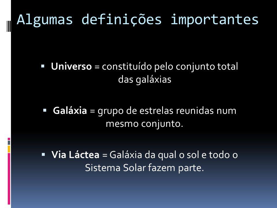 Algumas definições importantes Universo = constituído pelo conjunto total das galáxias Galáxia = grupo de estrelas reunidas num mesmo conjunto. Via Lá