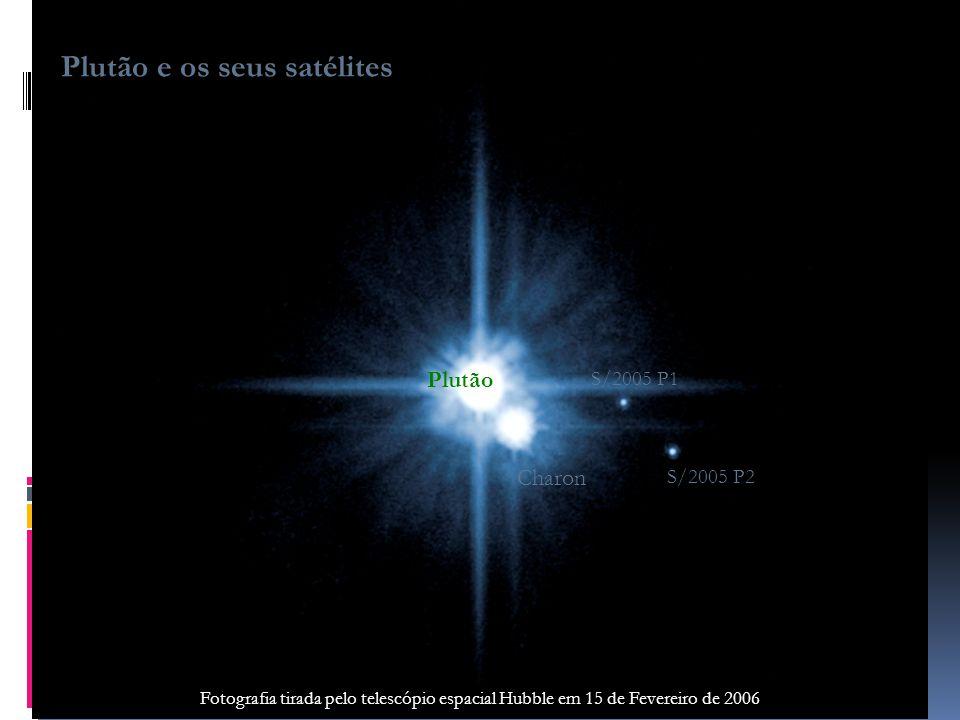 Plutão S/2005 P1 Charon S/2005 P2 Plutão e os seus satélites Fotografia tirada pelo telescópio espacial Hubble em 15 de Fevereiro de 2006