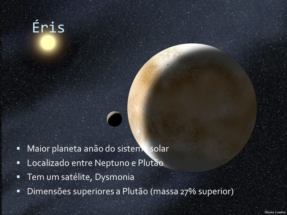 Éris Maior planeta anão do sistema solar Localizado entre Neptuno e Plutão Tem um satélite, Dysmonia Dimensões superiores a Plutão (massa 27% superior