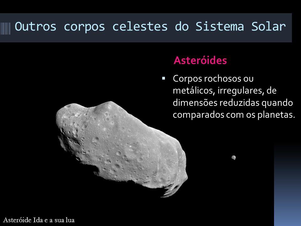 Outros corpos celestes do Sistema Solar Asteróides Corpos rochosos ou metálicos, irregulares, de dimensões reduzidas quando comparados com os planetas
