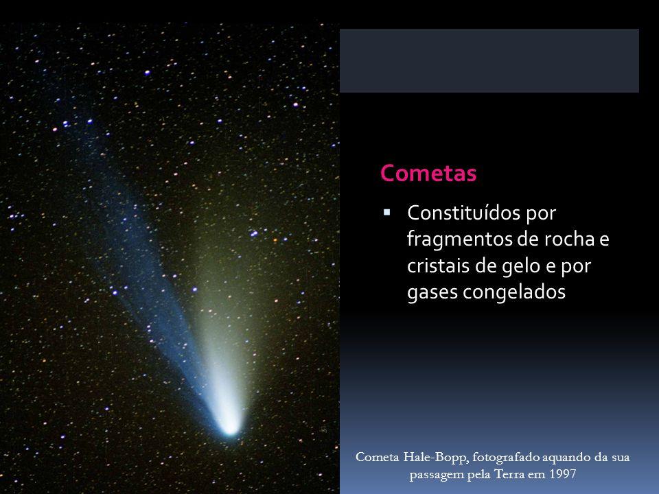 Cometas Constituídos por fragmentos de rocha e cristais de gelo e por gases congelados Cometa Hale-Bopp, fotografado aquando da sua passagem pela Terr