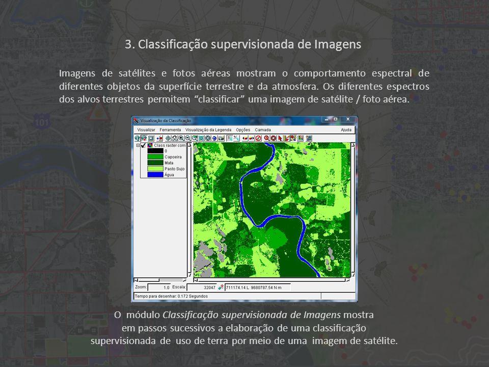 O módulo Classificação supervisionada de Imagens mostra em passos sucessivos a elaboração de uma classificação supervisionada de uso de terra por meio