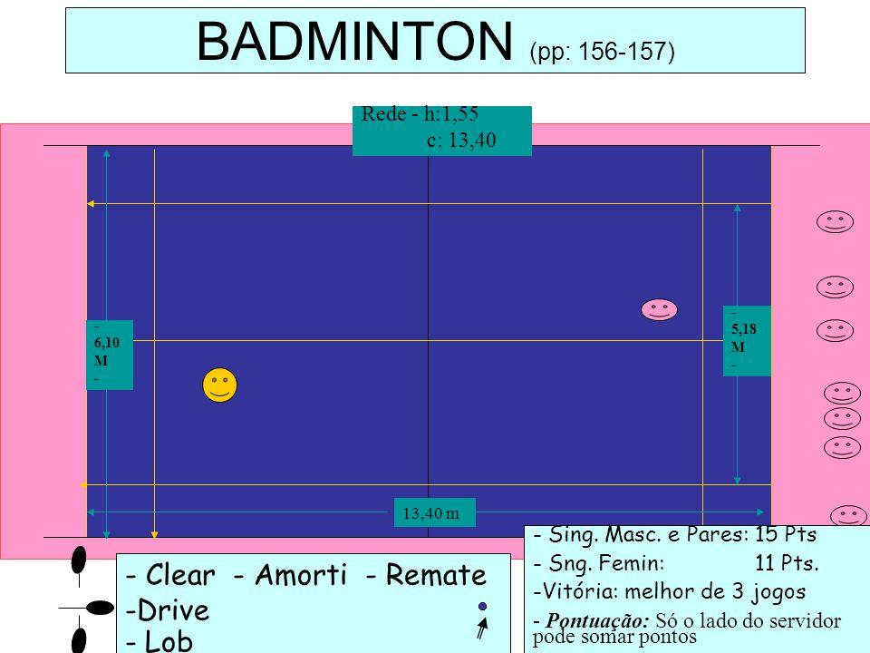- Clear - Amorti - Remate -Drive - Lob BADMINTON (pp: 156-157) - Sing. Masc. e Pares: 15 Pts - Sng. Femin: 11 Pts. -Vitória: melhor de 3 jogos - Pontu