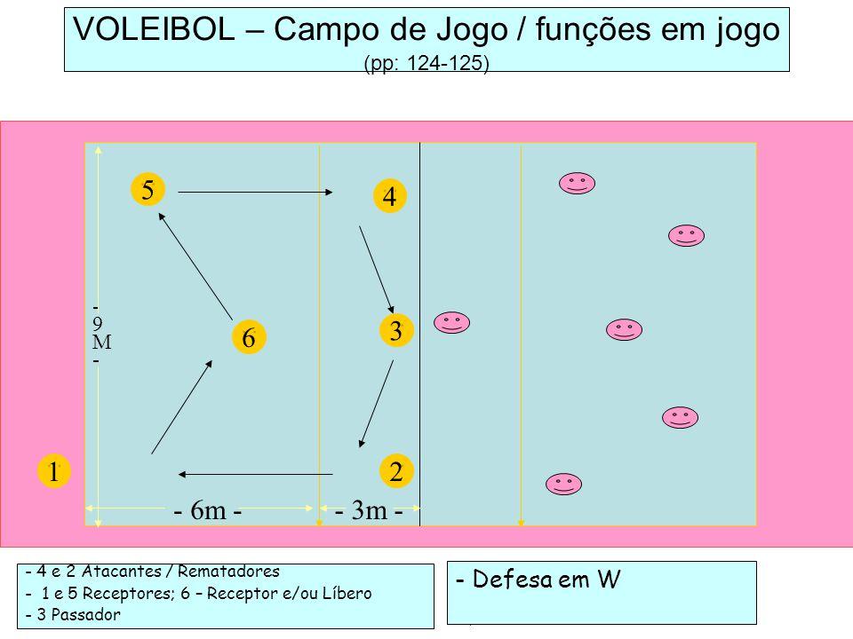 - 4 e 2 Atacantes / Rematadores - 1 e 5 Receptores; 6 – Receptor e/ou Líbero - 3 Passador 5 VOLEIBOL – Campo de Jogo / funções em jogo (pp: 124-125) 6