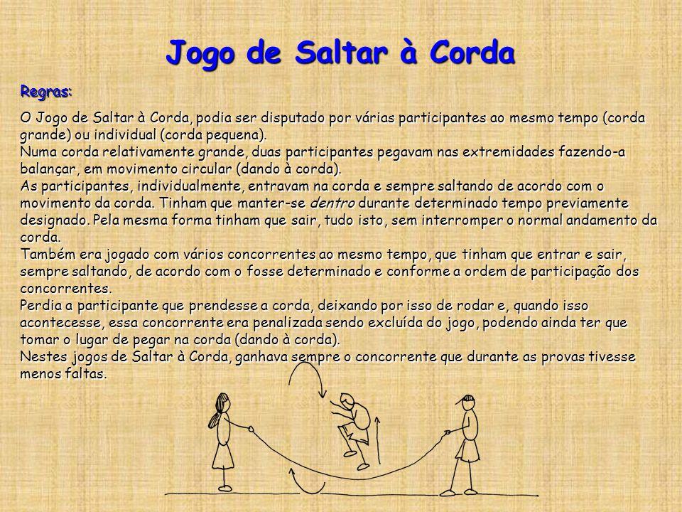 Jogo de Saltar à Corda Regras: O Jogo de Saltar à Corda, podia ser disputado por várias participantes ao mesmo tempo (corda grande) ou individual (cor