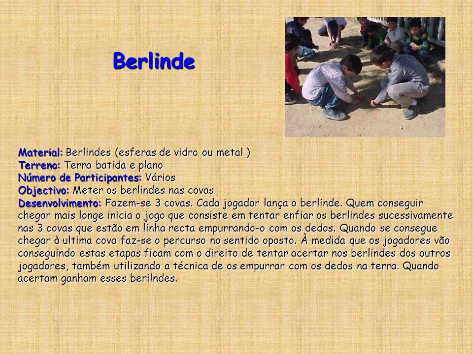 Berlinde Material: Berlindes (esferas de vidro ou metal ) Terreno: Terra batida e plano Número de Participantes: Vários Objectivo: Meter os berlindes