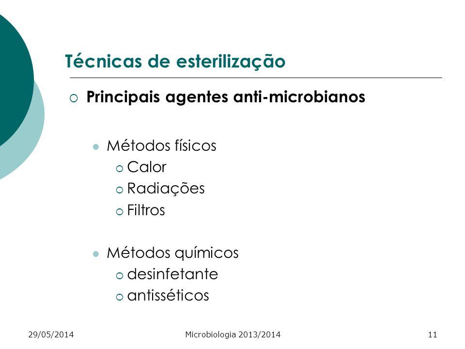 29/05/2014Microbiologia 2013/201411 Técnicas de esterilização Principais agentes anti-microbianos Métodos físicos Calor Radiações Filtros Métodos químicos desinfetante antisséticos