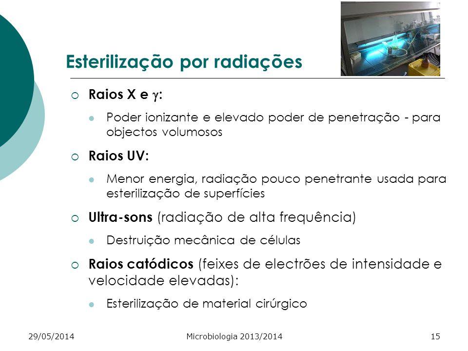 29/05/2014Microbiologia 2013/201415 Esterilização por radiações Raios X e : Poder ionizante e elevado poder de penetração - para objectos volumosos Raios UV: Menor energia, radiação pouco penetrante usada para esterilização de superfícies Ultra-sons (radiação de alta frequência) Destruição mecânica de células Raios catódicos (feixes de electrões de intensidade e velocidade elevadas): Esterilização de material cirúrgico