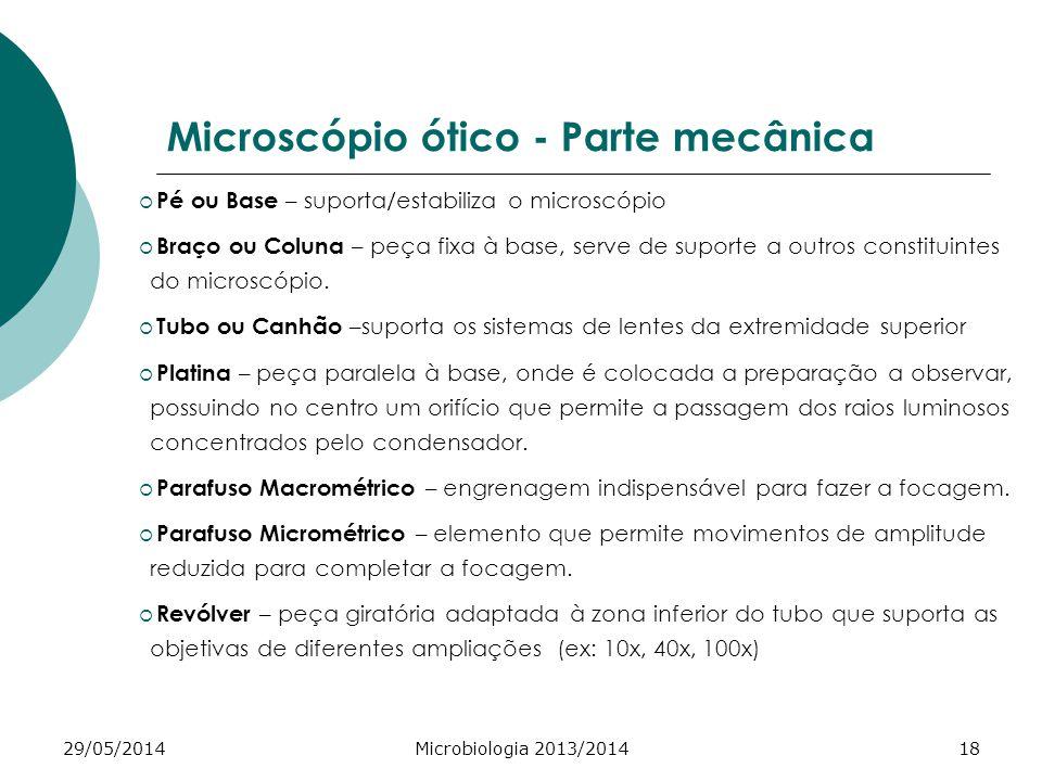 29/05/2014Microbiologia 2013/201418 Microscópio ótico - Parte mecânica Pé ou Base – suporta/estabiliza o microscópio Braço ou Coluna – peça fixa à base, serve de suporte a outros constituintes do microscópio.