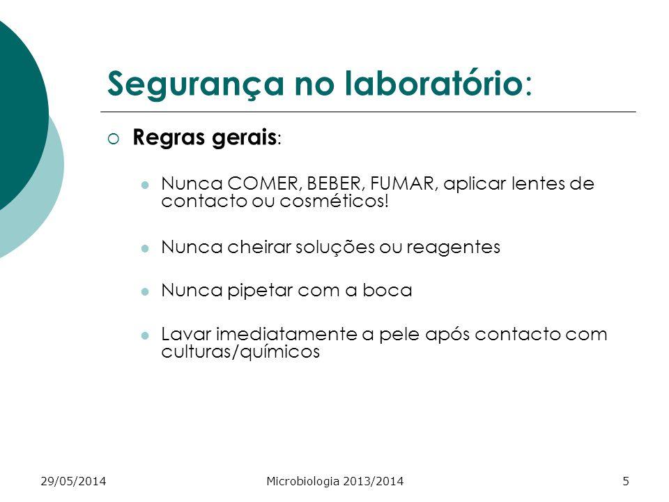 29/05/2014Microbiologia 2013/20145 Segurança no laboratório : Regras gerais : Nunca COMER, BEBER, FUMAR, aplicar lentes de contacto ou cosméticos.