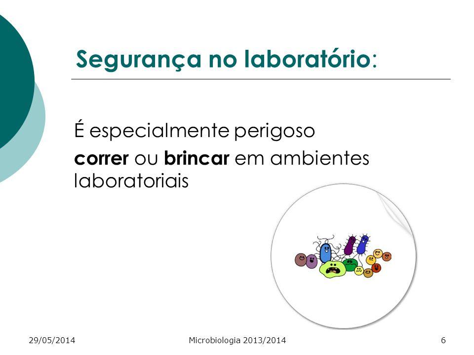 29/05/2014Microbiologia 2013/20146 Segurança no laboratório : É especialmente perigoso correr ou brincar em ambientes laboratoriais