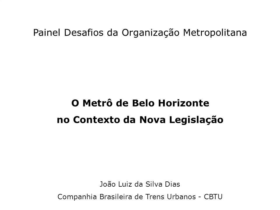 Painel Desafios da Organização Metropolitana O Metrô de Belo Horizonte no Contexto da Nova Legislação João Luiz da Silva Dias Companhia Brasileira de Trens Urbanos - CBTU