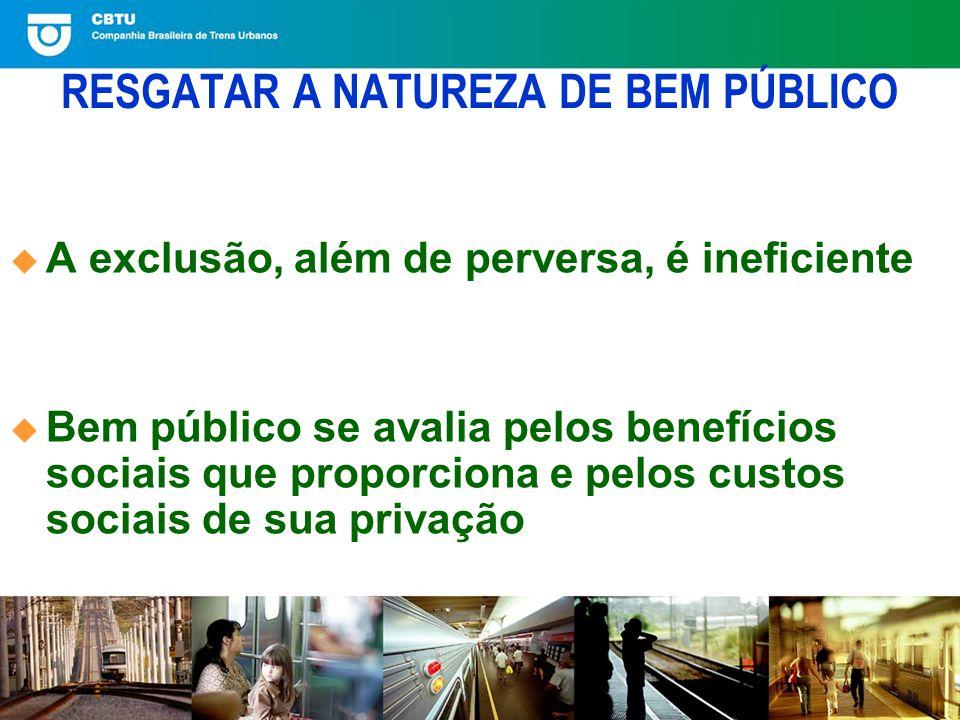 RESGATAR A NATUREZA DE BEM PÚBLICO A exclusão, além de perversa, é ineficiente Bem público se avalia pelos benefícios sociais que proporciona e pelos custos sociais de sua privação