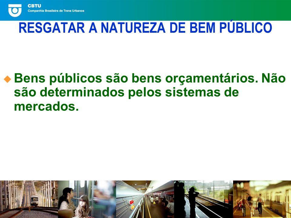 RESGATAR A NATUREZA DE BEM PÚBLICO Bens públicos são bens orçamentários.