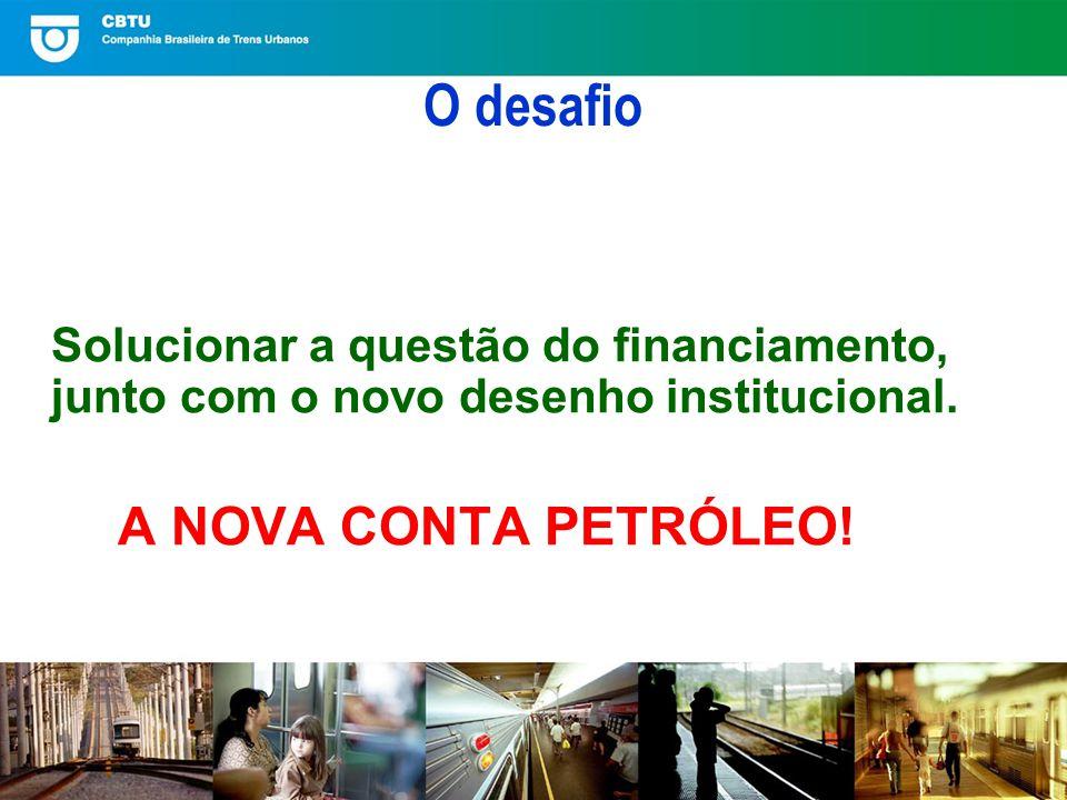 O desafio Solucionar a questão do financiamento, junto com o novo desenho institucional.