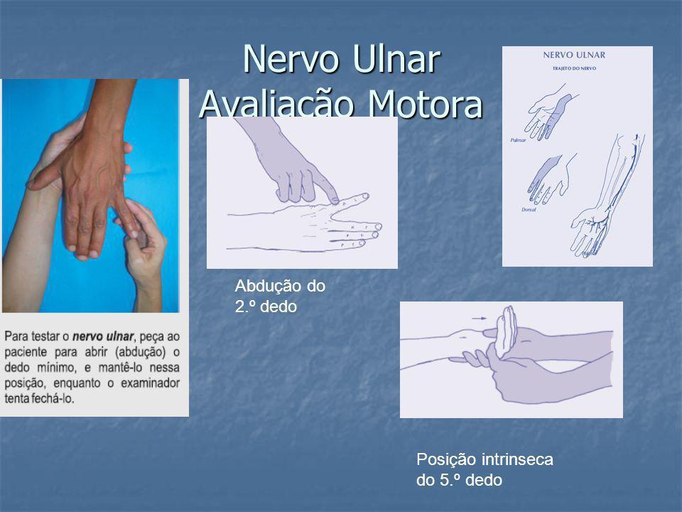 Nervo Ulnar Avaliação Motora Abdução do 2.º dedo Posição intrinseca do 5.º dedo
