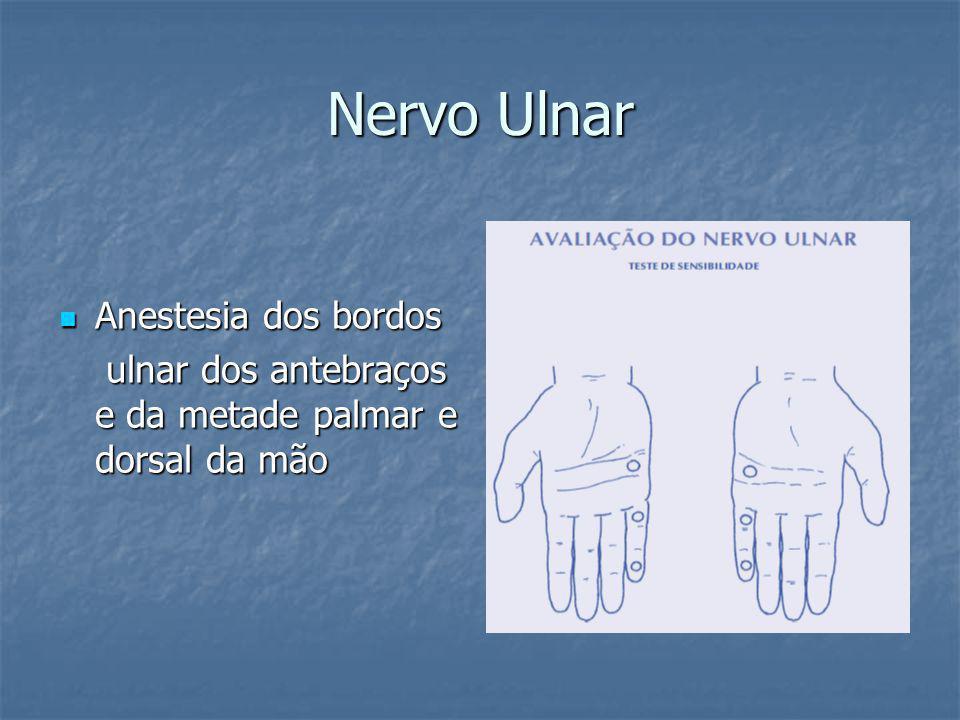 Nervo Ulnar Anestesia dos bordos Anestesia dos bordos ulnar dos antebraços e da metade palmar e dorsal da mão ulnar dos antebraços e da metade palmar e dorsal da mão