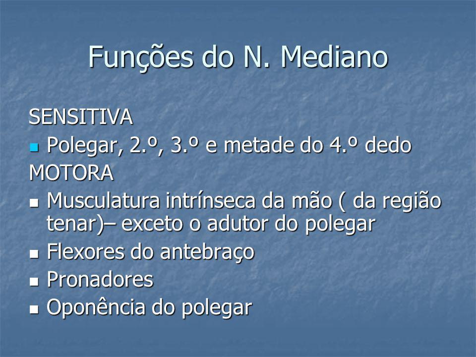 Funções do N. Mediano SENSITIVA Polegar, 2.º, 3.º e metade do 4.º dedo Polegar, 2.º, 3.º e metade do 4.º dedoMOTORA Musculatura intrínseca da mão ( da
