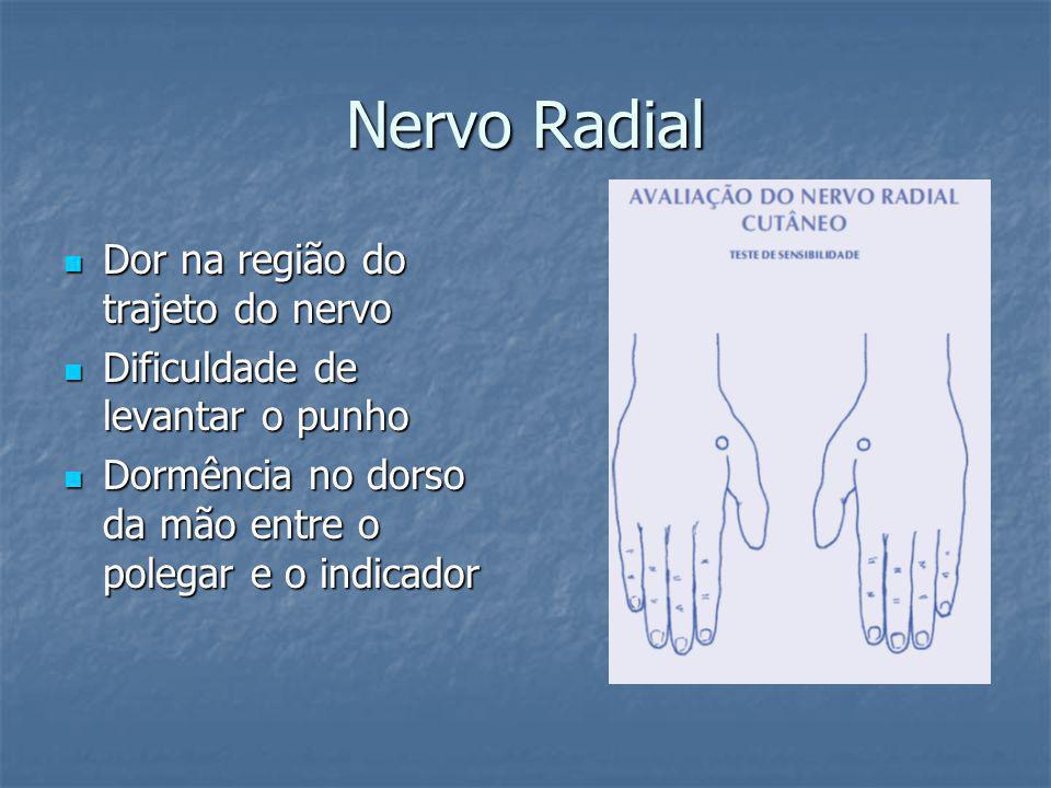 Nervo Radial Dor na região do trajeto do nervo Dor na região do trajeto do nervo Dificuldade de levantar o punho Dificuldade de levantar o punho Dormência no dorso da mão entre o polegar e o indicador Dormência no dorso da mão entre o polegar e o indicador