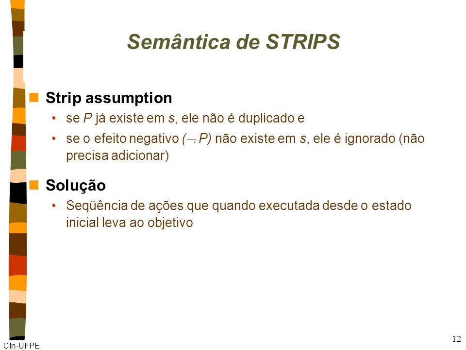 CIn-UFPE 12 Semântica de STRIPS nStrip assumption se P já existe em s, ele não é duplicado e se o efeito negativo ( P) não existe em s, ele é ignorado (não precisa adicionar) nSolução Seqüência de ações que quando executada desde o estado inicial leva ao objetivo