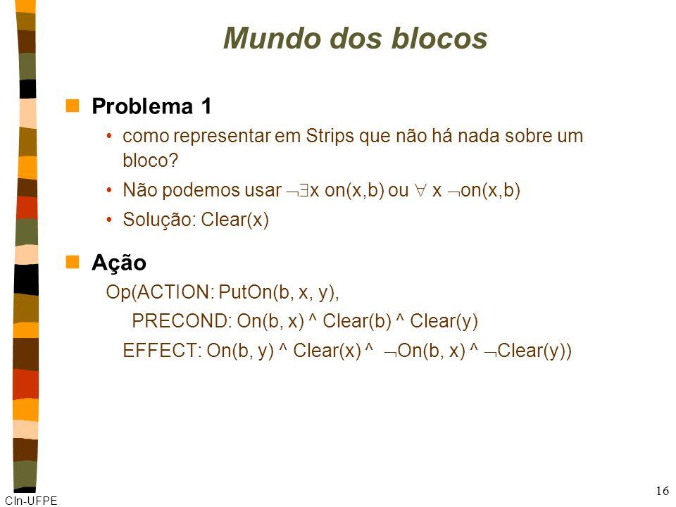 CIn-UFPE 16 Mundo dos blocos nProblema 1 como representar em Strips que não há nada sobre um bloco.