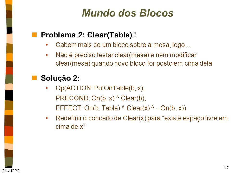 CIn-UFPE 17 Mundo dos Blocos nProblema 2: Clear(Table) .