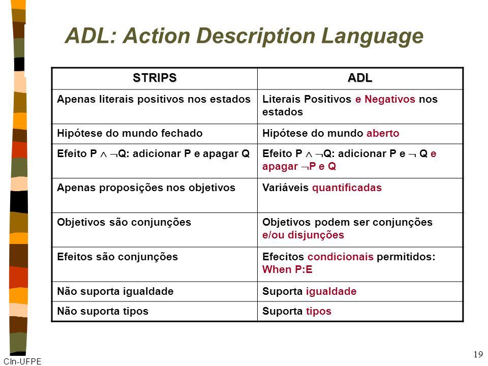 CIn-UFPE 19 ADL: Action Description Language STRIPSADL Apenas literais positivos nos estadosLiterais Positivos e Negativos nos estados Hipótese do mundo fechadoHipótese do mundo aberto Efeito P Q: adicionar P e apagar QEfeito P Q: adicionar P e Q e apagar P e Q Apenas proposições nos objetivosVariáveis quantificadas Objetivos são conjunçõesObjetivos podem ser conjunções e/ou disjunções Efeitos são conjunçõesEfecitos condicionais permitidos: When P:E Não suporta igualdadeSuporta igualdade Não suporta tiposSuporta tipos