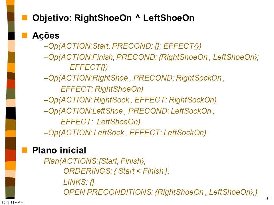 CIn-UFPE 31 nObjetivo: RightShoeOn ^ LeftShoeOn nAções –Op(ACTION:Start, PRECOND: {}; EFFECT{}) –Op(ACTION:Finish, PRECOND: {RightShoeOn, LeftShoeOn}; EFFECT{}) –Op(ACTION:RightShoe, PRECOND: RightSockOn, EFFECT: RightShoeOn) –Op(ACTION: RightSock, EFFECT: RightSockOn) –Op(ACTION:LeftShoe, PRECOND: LeftSockOn, EFFECT: LeftShoeOn) –Op(ACTION: LeftSock, EFFECT: LeftSockOn) nPlano inicial Plan(ACTIONS:{Start, Finish}, ORDERINGS: { Start < Finish }, LINKS: {} OPEN PRECONDITIONS: {RightShoeOn, LeftShoeOn},)