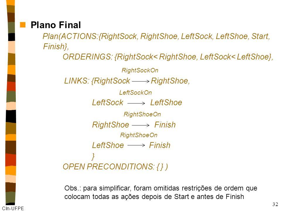 CIn-UFPE 32 nPlano Final Plan(ACTIONS:{RightSock, RightShoe, LeftSock, LeftShoe, Start, Finish}, ORDERINGS: {RightSock< RightShoe, LeftSock< LeftShoe}, RightSockOn LINKS: {RightSock RightShoe, LeftSockOn LeftSock LeftShoe RightShoeOn RightShoe Finish RightShoeOn LeftShoe Finish } OPEN PRECONDITIONS: { } ) Obs.: para simplificar, foram omitidas restrições de ordem que colocam todas as ações depois de Start e antes de Finish