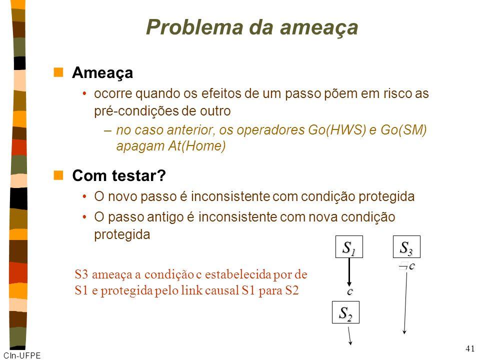 CIn-UFPE 41 S3S3S3S3 S1S1S1S1 S2S2S2S2 c c Problema da ameaça nAmeaça ocorre quando os efeitos de um passo põem em risco as pré-condições de outro –no caso anterior, os operadores Go(HWS) e Go(SM) apagam At(Home) nCom testar.