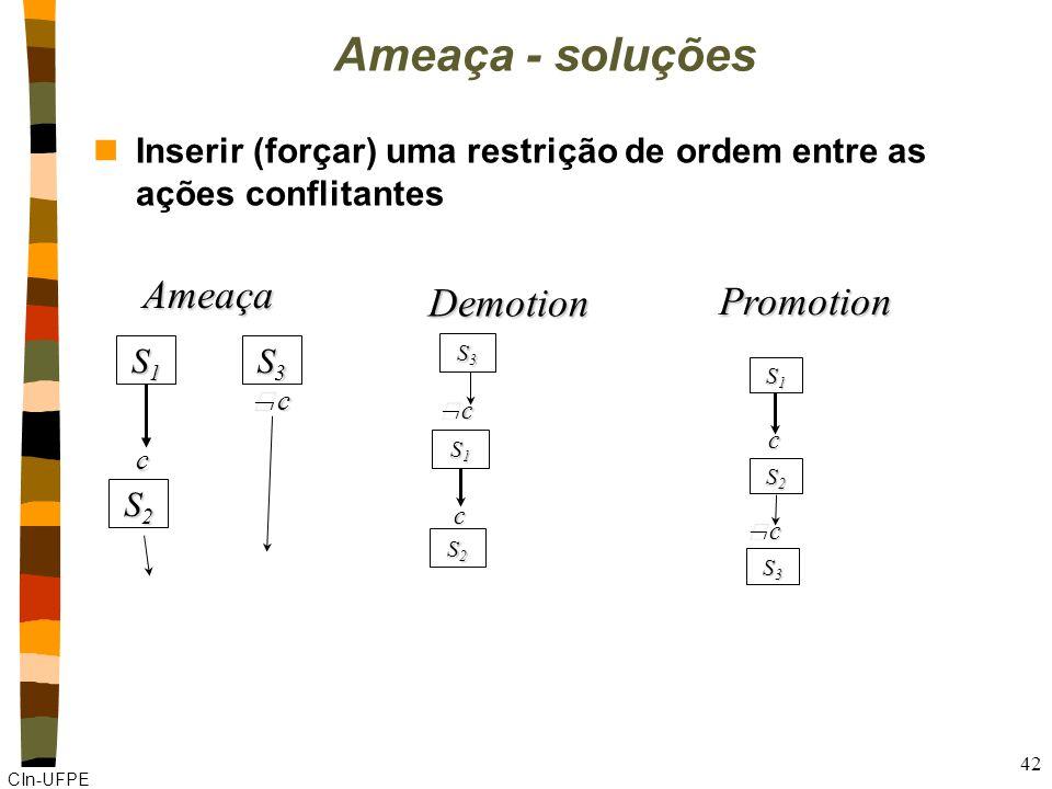 CIn-UFPE nInserir (forçar) uma restrição de ordem entre as ações conflitantes 42 Ameaça - soluções S1S1S1S1 S3S3S3S3 S2S2S2S2 c c S1S1S1S1 S3S3S3S3 S2S2S2S2 c c Promotion Demotion S3S3S3S3 S1S1S1S1 S2S2S2S2 c c Ameaça