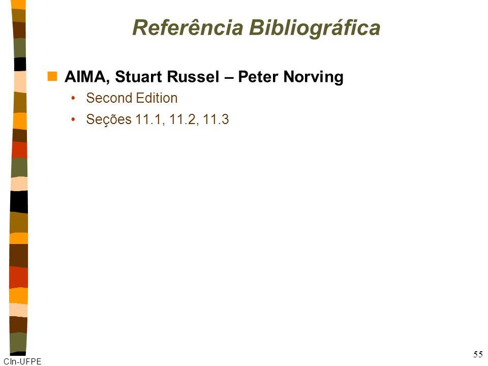 CIn-UFPE 55 Referência Bibliográfica nAIMA, Stuart Russel – Peter Norving Second Edition Seções 11.1, 11.2, 11.3