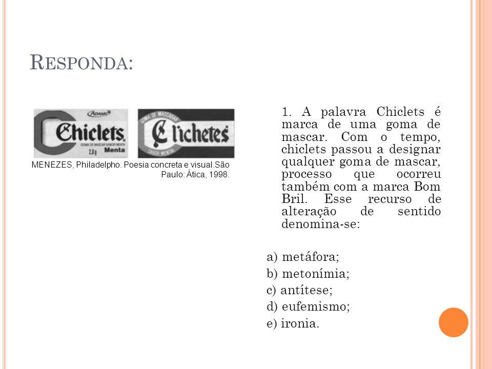 MENEZES, Philadelpho. Poesia concreta e visual.São Paulo: Ática, 1998. R ESPONDA : 1. A palavra Chiclets é marca de uma goma de mascar. Com o tempo, c