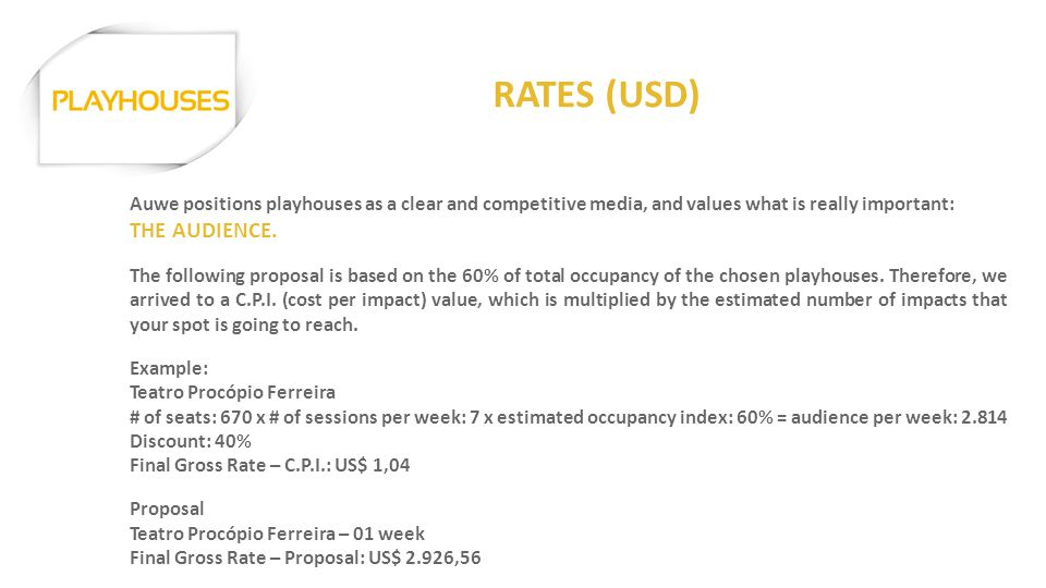 RATES (USD) Auwe positions playhouses as a clear and competitive media, and values what is really important: THE AUDIENCE. The following proposal is b