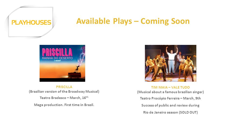 Available Plays – Coming Soon PRISCILLA (Brazilian version of the Broadway Musical) Teatro Bradesco – March, 16 th Mega production. First time in Braz