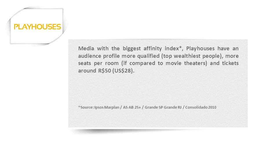 Media with the biggest affinity index*, Playhouses have an audience profile more qualified (top wealthiest people), more seats per room (if compared to movie theaters) and tickets around R$50 (US$28).